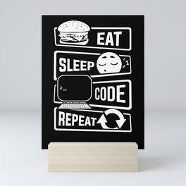 Eat Sleep Code Repeat - Computer Programmer CLI Mini Art Print