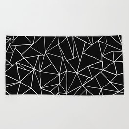 Abstraction Outline Black and White Beach Towel