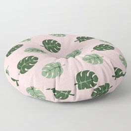 Tropical leaves Monstera deliciosa green and pink #monstera #tropical #leaves #floral #homedecor Floor Pillow