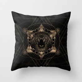 Tiger in Sacred Geometry Composition - Black and Gold Throw Pillow
