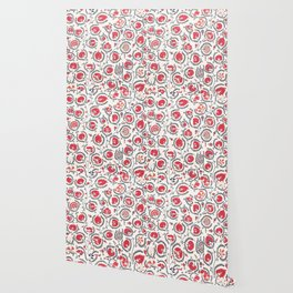 Wildflower II // 18th Century Positive Happy Colorful Red Green Botanical Garden Flowery Pattern Wallpaper