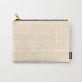 Blanched almond - pink color - White Lines Grid Pattern Carry-All Pouch