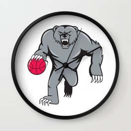 Grizzly Bear Angry Dribbling Basketball Isolated Wall Clock
