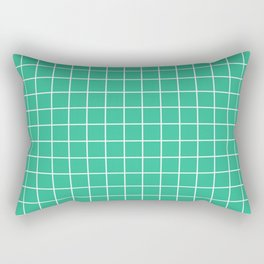 Mountain Meadow - green color -  White Lines Grid Pattern Rectangular Pillow