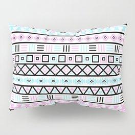 Aztec Influence Pattern Blue Black Pink White Pillow Sham