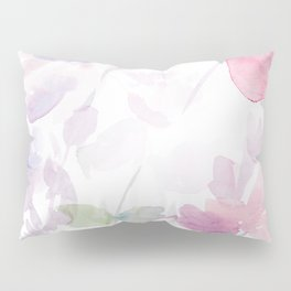Blooming blush and purple watrclolor Pillow Sham