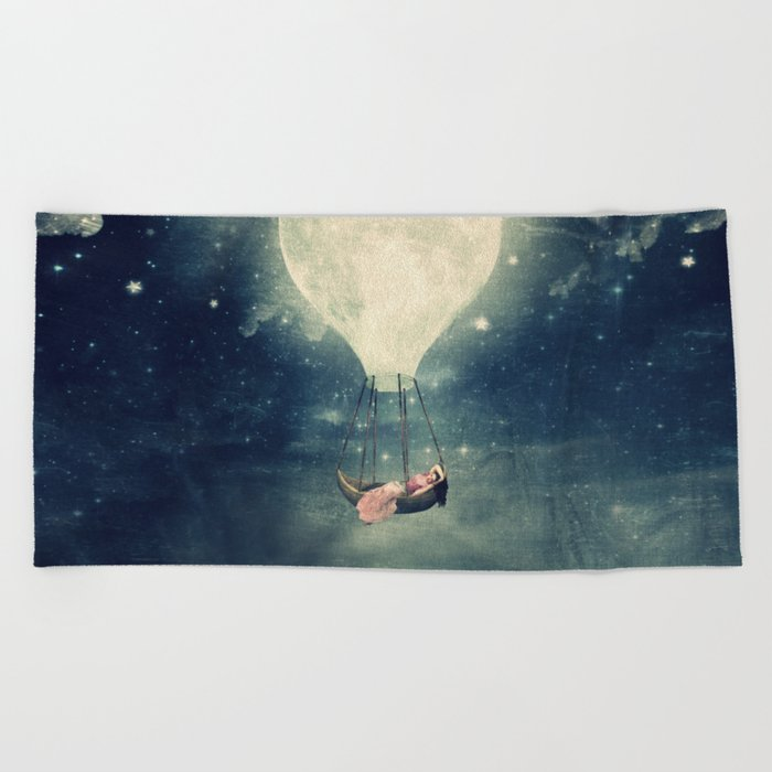 Moon Reverie over Paris Beach Towel