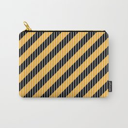 Seamless diagonal black and white stripes on yellow background. Carry-All Pouch