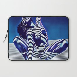 9124s-KMA Powerful Nude Woman Open and Free Striped in Blue Laptop Sleeve