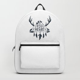 Wild At Heart. Arrows, Horns, Feathers. Inspirational Quote Backpack
