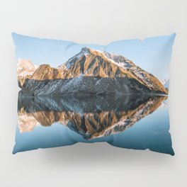 Calm Mountain Lake at Sunset - Landscape Photography Pillow Sham