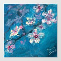 cherry blossoms Canvas Prints featuring Cherry Blossoms by Spinning Daydreams