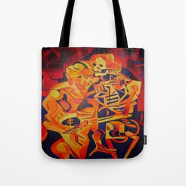 A Skeleton and Corpse Embracing Death Tote Bag
