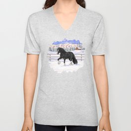 Black Gypsy Vanner Draft Horse Running in Snow Unisex V-Neck