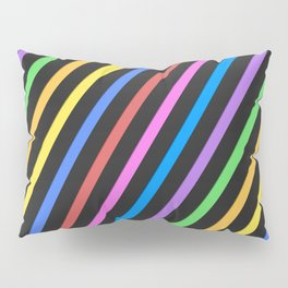 Purple Yellow Blue Black trippy stripes Pillow Sham