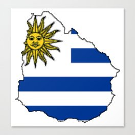 Uruguay Map with Uruguayan Flag Canvas Print
