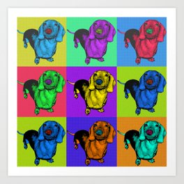 Pop Art Dachshund Panels Art Print