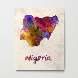 Nigeria in watercolor Metal Print
