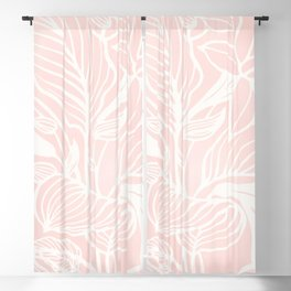 Blush Pink Coral Floral Garden Blackout Curtain