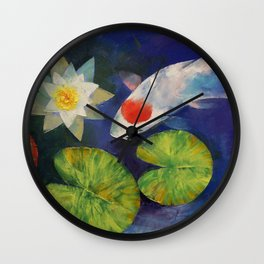 Tancho Koi and Water Lily Wall Clock