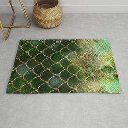 Green & Gold Mermaid Scales Rug