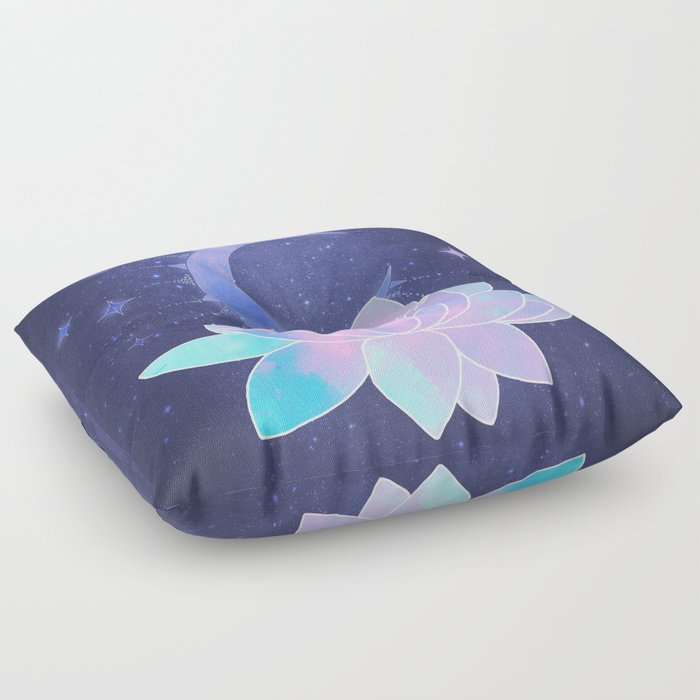 moon lotus flower Floor Pillow by vitag | Society6