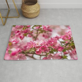 Bright Pink Crabapple Blossoms Rug