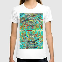 psychedelic circle pattern painting abstract background in green blue yellow brown T-shirt