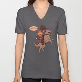 Cowboy Cat Riding A Dog Unisex V-Neck