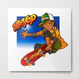 Hip Hop girl skateboard Cartoon Metal Print