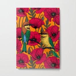 Bee eaters and poppies on orange Metal Print