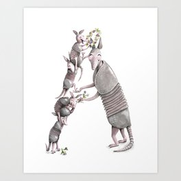 A is for Armadillos! Watercolor ABCs from the Laugh-A-Bit Alphabet Art Print