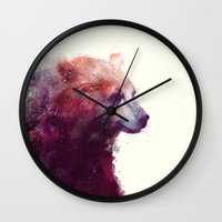 jazzberry blue Wall Clocks featuring Bear // Calm by Amy Hamilton