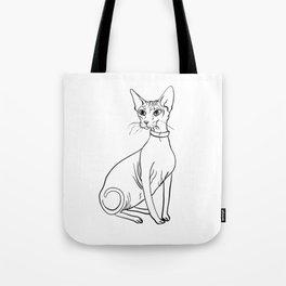 Elegant Sphynx Kitty - Line Art - Minimal Black and White Tote Bag