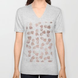 Modern faux rose gold pineapples white marble pattern Unisex V-Neck