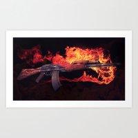 CSGO Elemental Series   AK-47 FIRE Art Print