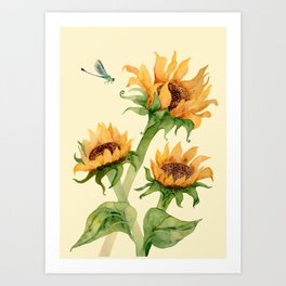 Sunflowers & Dragonfly Art Print