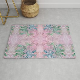 Peony Dragons Chinoiserie Chic Antique Stencil Art - Petal Pink Rug