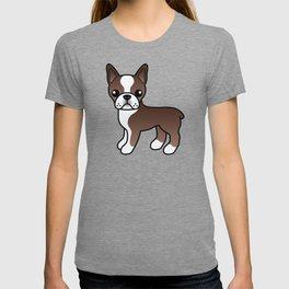 Chocolate Boston Terrier Cute Cartoon Illustration T-shirt