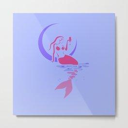 mermaid in the moon art Metal Print
