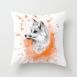 Watercolor Splash Fox Throw Pillow