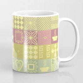 Colorful pink and mustard pattern . Coffee Mug