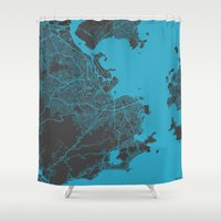 rio Shower Curtains featuring Rio by Map Map Maps