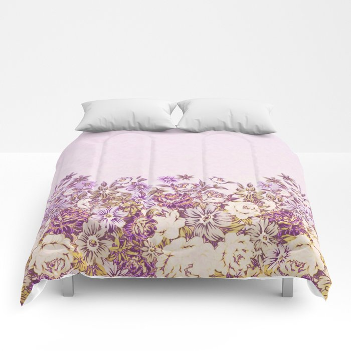 floral decor in vintage tones Comforters