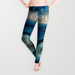 Blue Agate slice Leggings