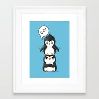 penguins Framed Art Prints featuring Penguins by Freeminds