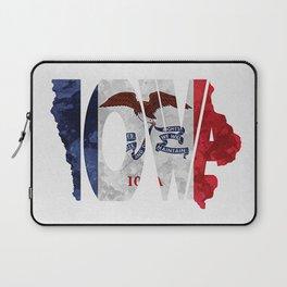 Iowa Typographic Flag Map Art Laptop Sleeve