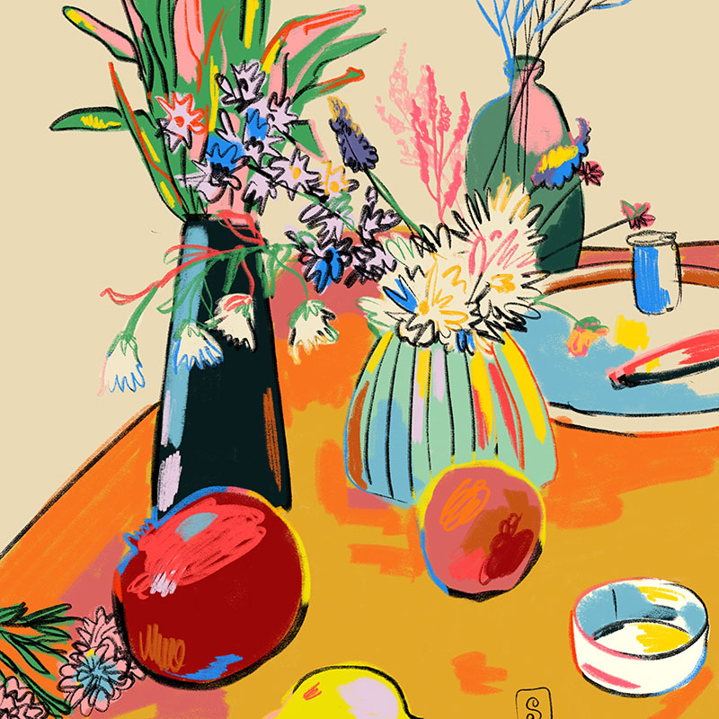 painterly illustration of a still life table setting