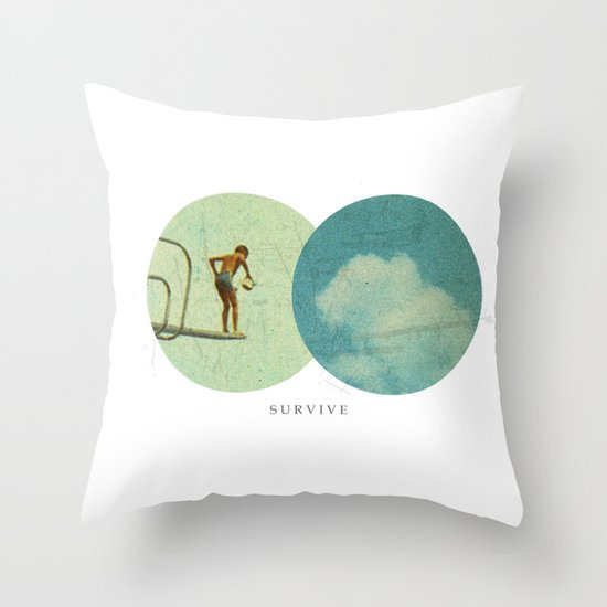 Survive | Collage Throw Pillow