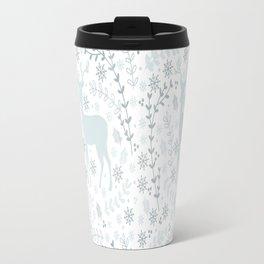 Winter floral deer Travel Mug